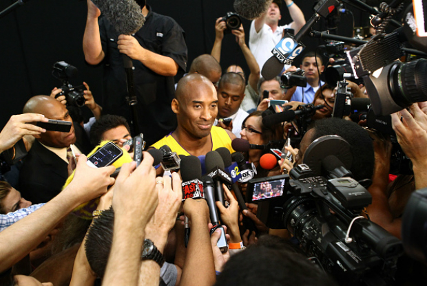Kobe Bryant en el media day de Los Angeles Lakers