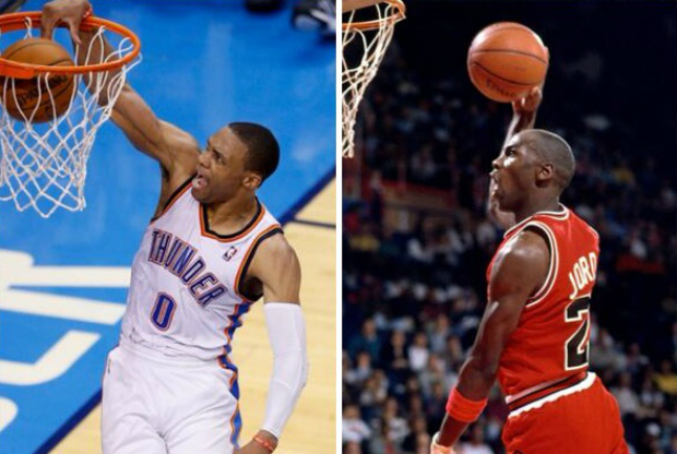 Russell Westbrook y Michael Jordan cara a carsa