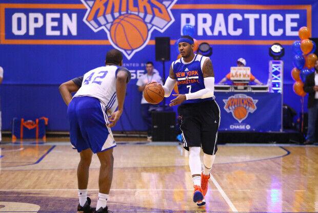 Carmelo Anthony entrenando con New York Knicks