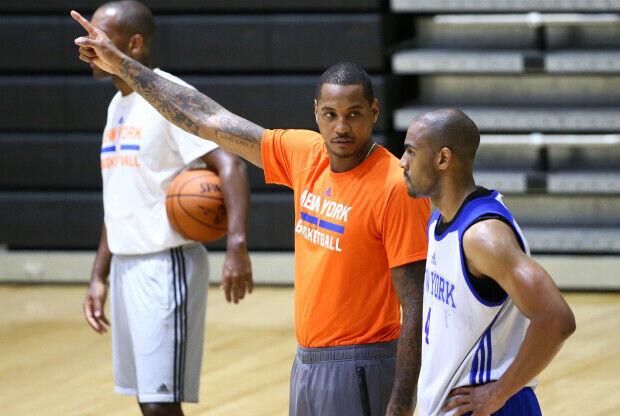 Carmelo Anthony en el training camp de New York Knicks