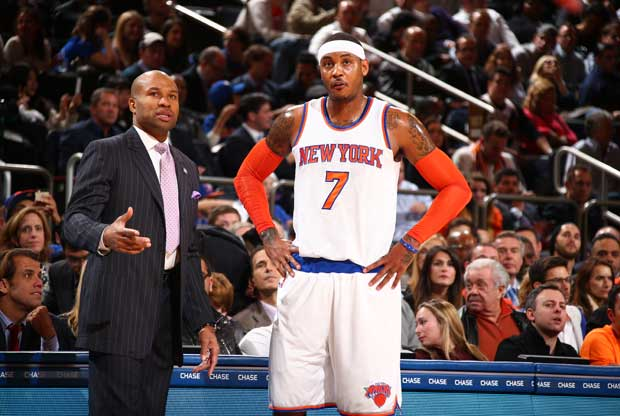 Derek Fisher, junto a Carmelo Anthony
