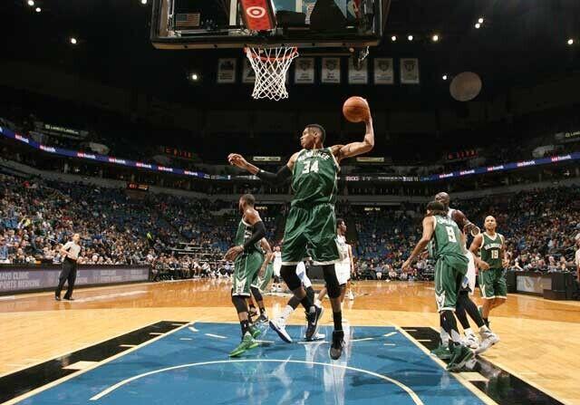 Giannis Antetokounmpo, en un partido con Milwaukee Bucks
