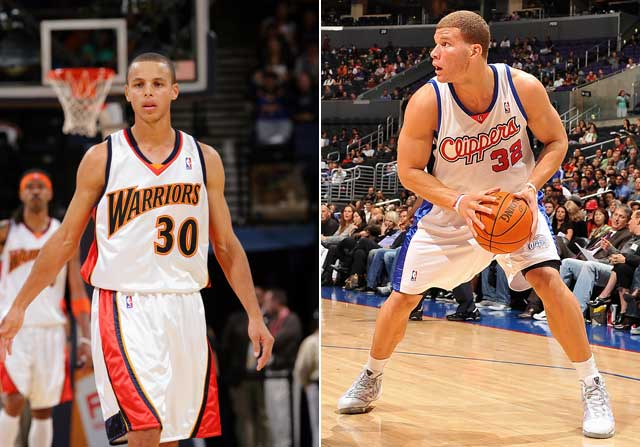 Blake Griffin y Stephen Curry en su primer año en la NBA