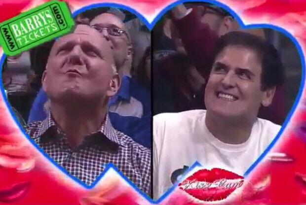 Mark Cuban y Steve Ballmer  aparecen en la kiss cam