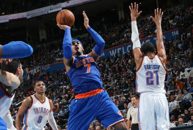 Carmelo Anthony lideró victoria sobre Thunder.