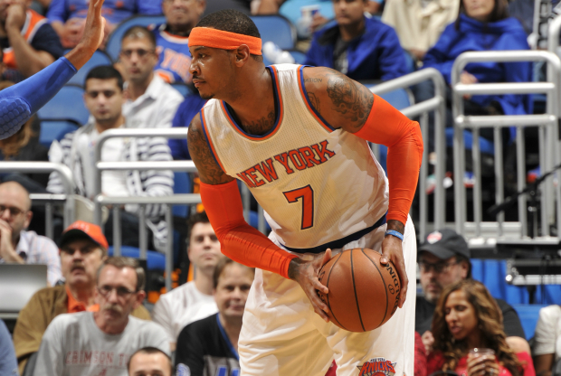 Carmelo Anthony en partido ante Orlanod Magic.