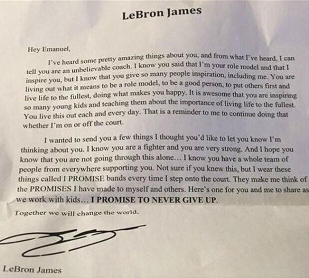 Carta de LeBron James a un fan