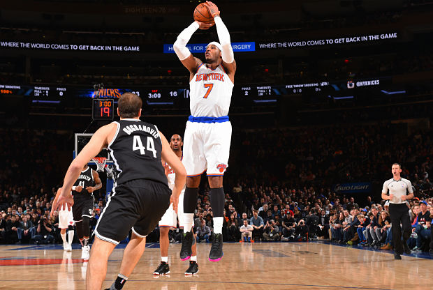 Carmelo Anthony ante Brooklyn Nets.