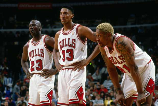Dennis Rodman, Michael Jordan y Scottie Pippen