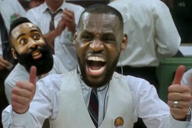 LeBron James y James Harden celebran la derrota de Golden State Warriors