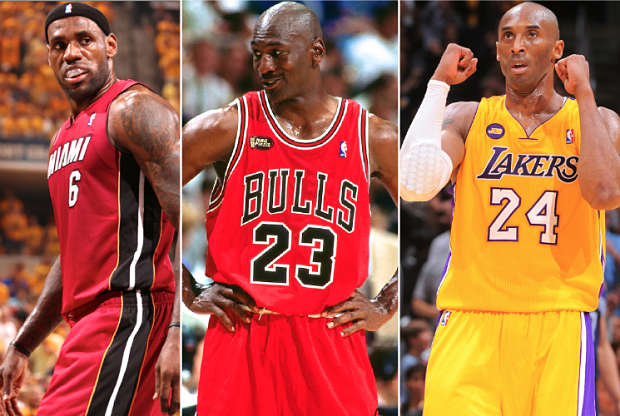 LeBron James, Michael Jordan y Kobe Bryant, estrellas de la NBA