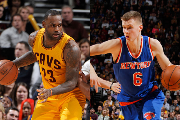 LeBron James y Krisaps Porzingis en un partido de la NBA