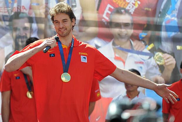 Pau Gasol celebra el título de España en el Eurobasket 2016