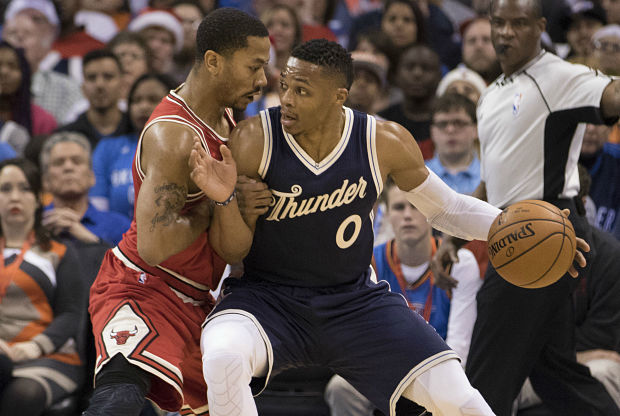 Russell Westbrook y Derrick Rose cara a cara