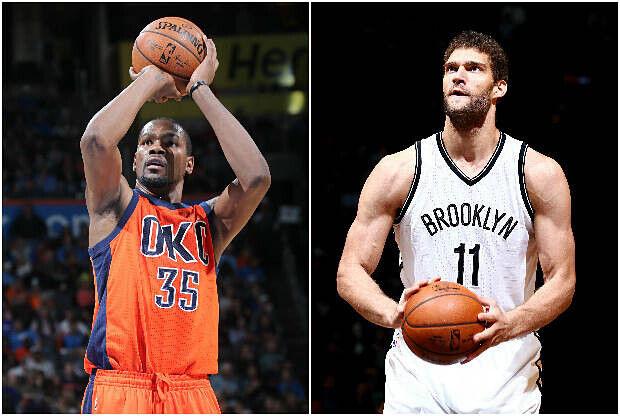 Kevin Durant y Brook Lopez, cara a cara