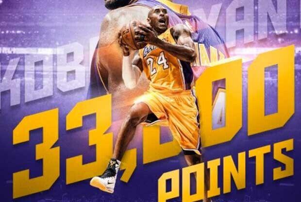 Kobe Bryant supera los 33.000 puntos en la NBA