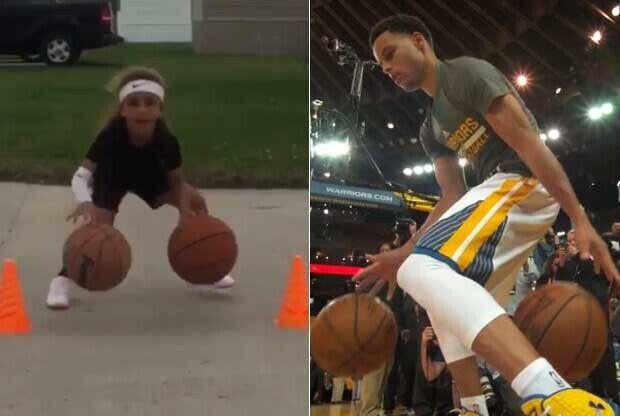 Niña de 6 años imita a Stephen Curry