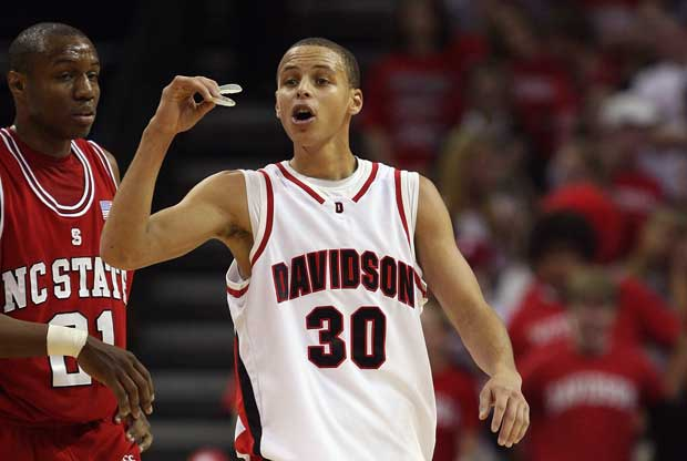 Stephen Curry, en un partido con la Universidad de Davidson