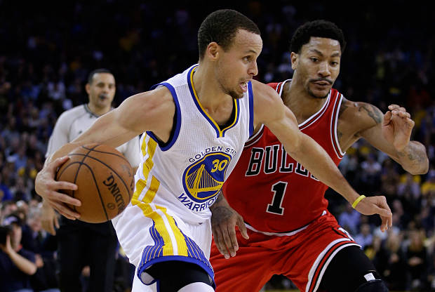 Stephen Curry y Derrick Rose se ven las carar