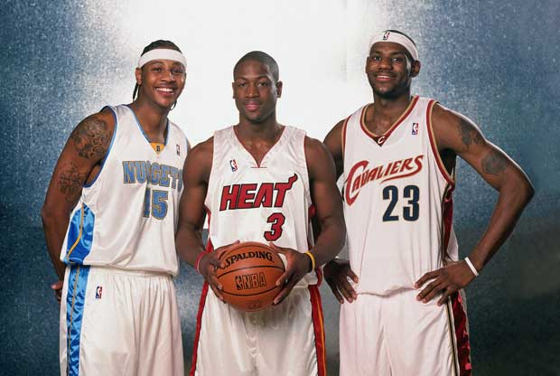 Dwyane Wade, LeBron James y Carmelo Anthony en el All-Star 2004