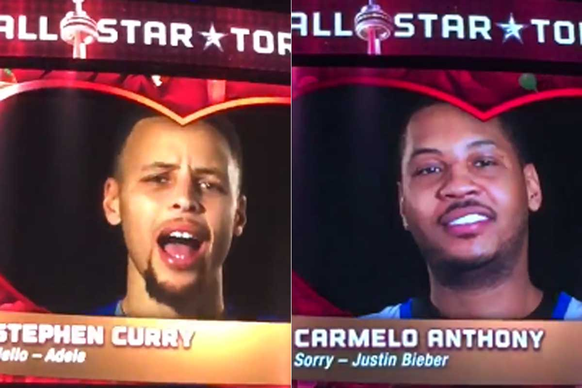 Stephen Curry y Carmelo Anthony cantan durante el All-Star Game