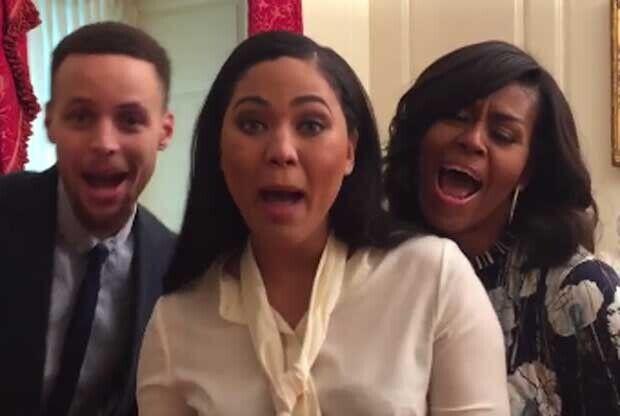 Stephen y Ayesha Curry cantan con Michell Obama