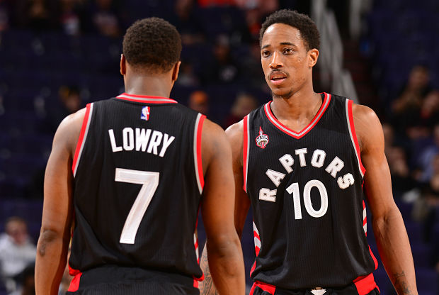 DeMar DeRozan y Kyle Lowry, jugadores de Toronto Raptors