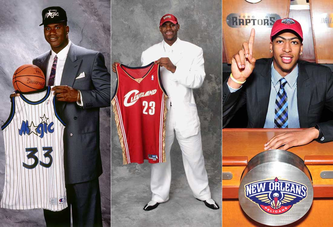 Shaquille O'Neal, LeBron James y Anthony Davis