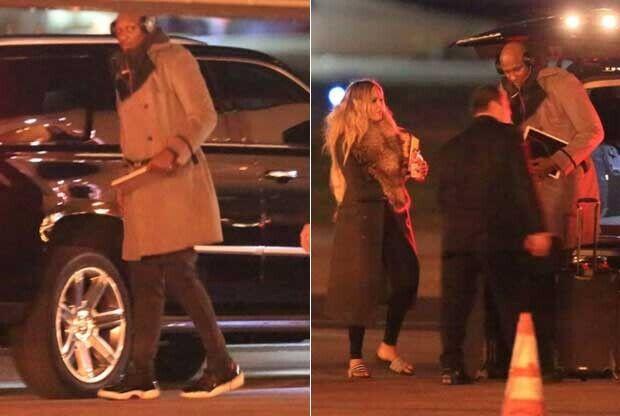 Lamar Odom junto a Khloé Kardashian a punto de coger un avión