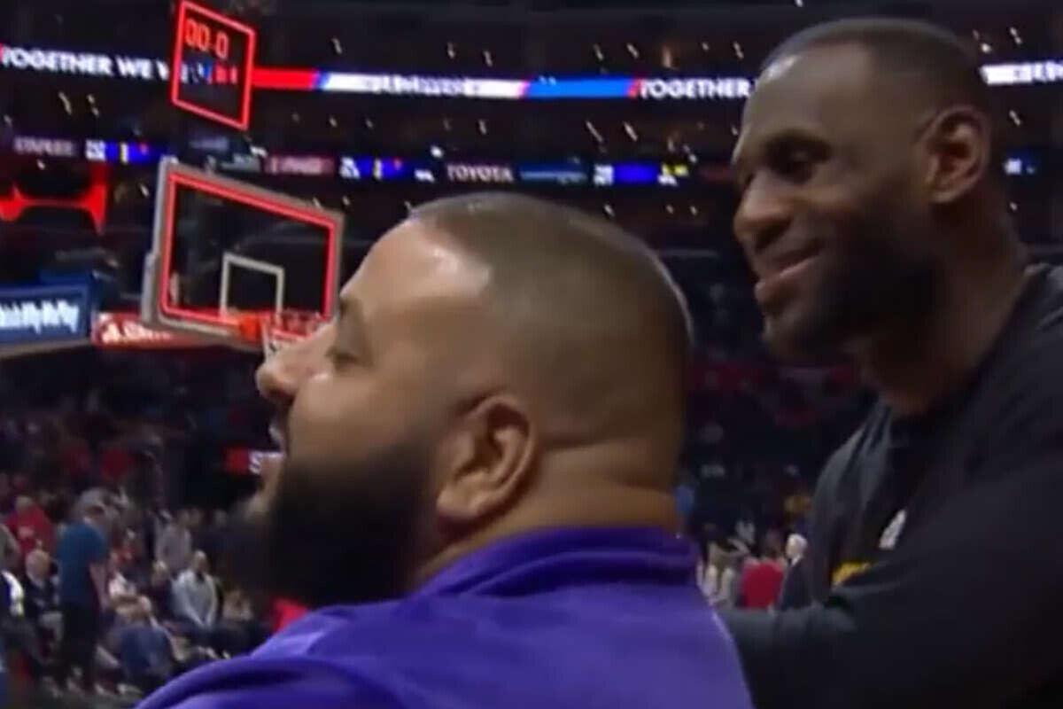 LeBron James y DJ Khaled juntos tras el partido