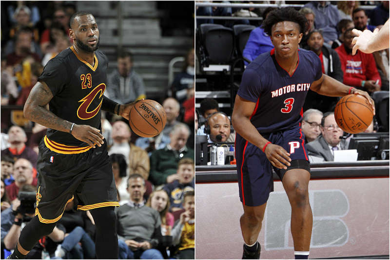LeBron James y Stanley Johnson, cara a cara