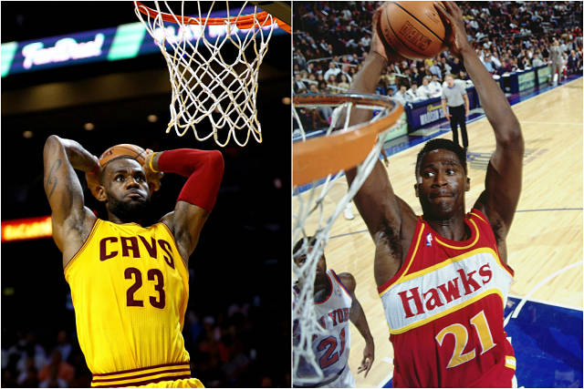 LeBron James y Dominique Wilkins machacando