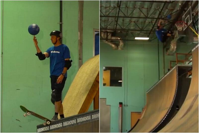 El skater Tony Hawk reinventa el baloncesto