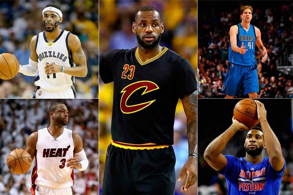 Mike Conley, Dwyane Wade, LeBron James, Dirk Nowitkzi y Andre Drummond, los mejores