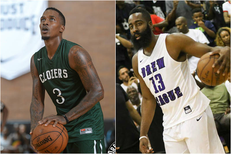 Brandon Jennings y James Harden jugando en la Drew League