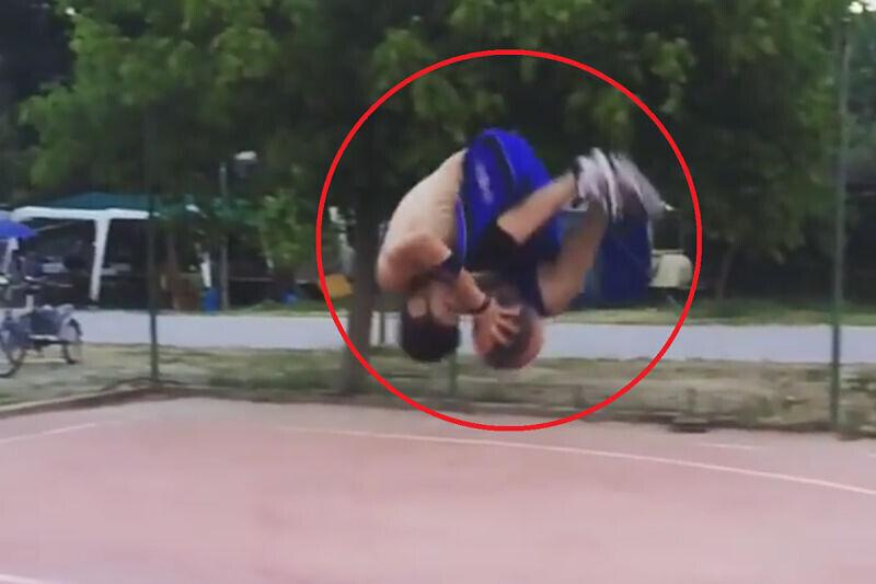 Una acrobacia baloncestística