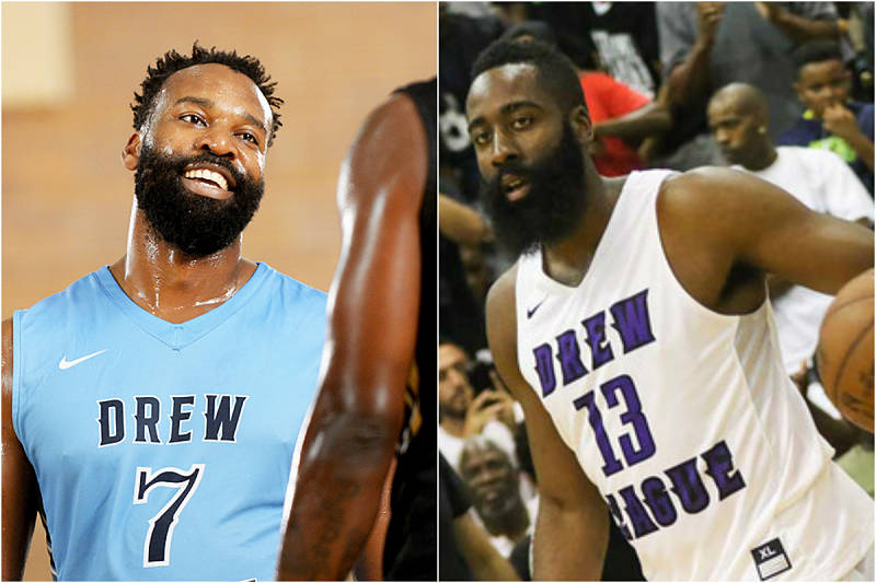 Baron Davis y James Harden en la Drew League