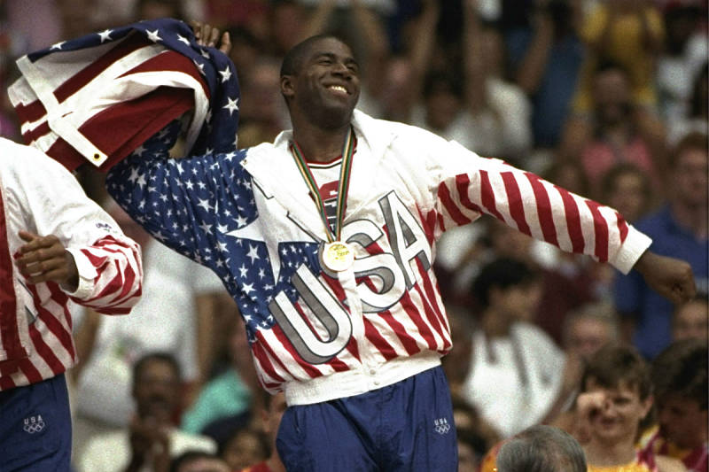 Magic Johnson con el uniforme del Team USA