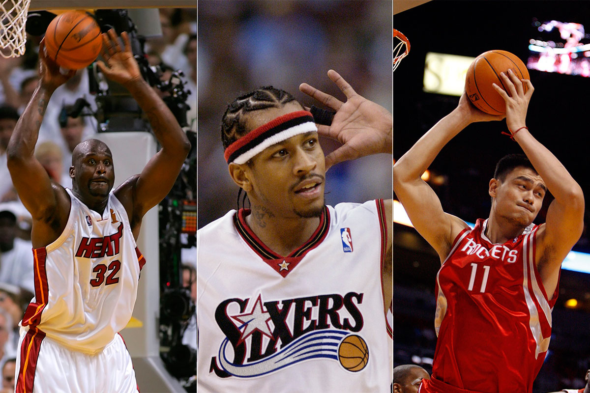 Shaquille O'Neal, Yao Ming y Allen Iverson