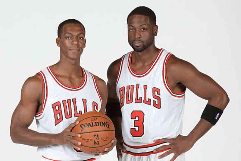 Dwyane Wade y Rajon Rondo, jugadores de Chicago Bulls