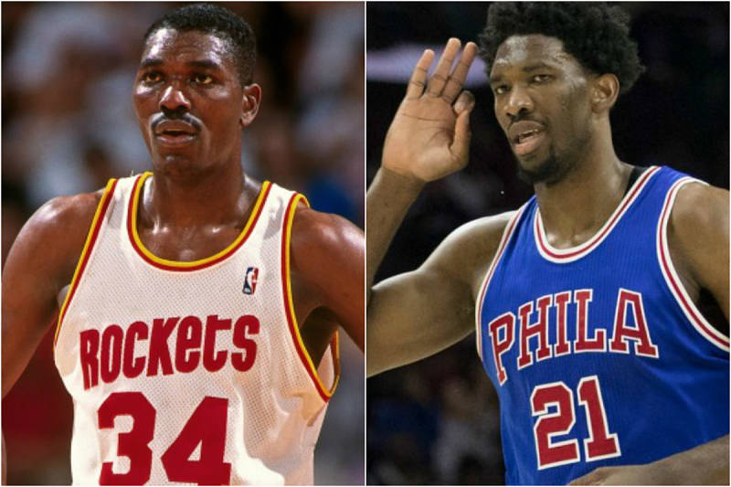 Joel Embiid y Hakeem Olajuwon, estrellas de la NBA