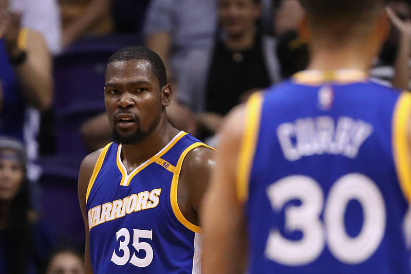 Kevin Durant y Stephen Curry, jugadores de los Warriors