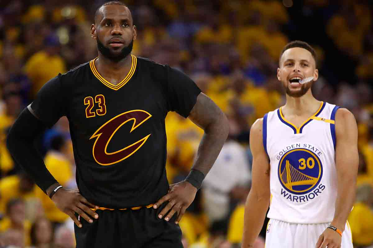 LeBron James, jugador de Cleveland Cavaliers; Stephen Curry, jugador de Golden State Warriors