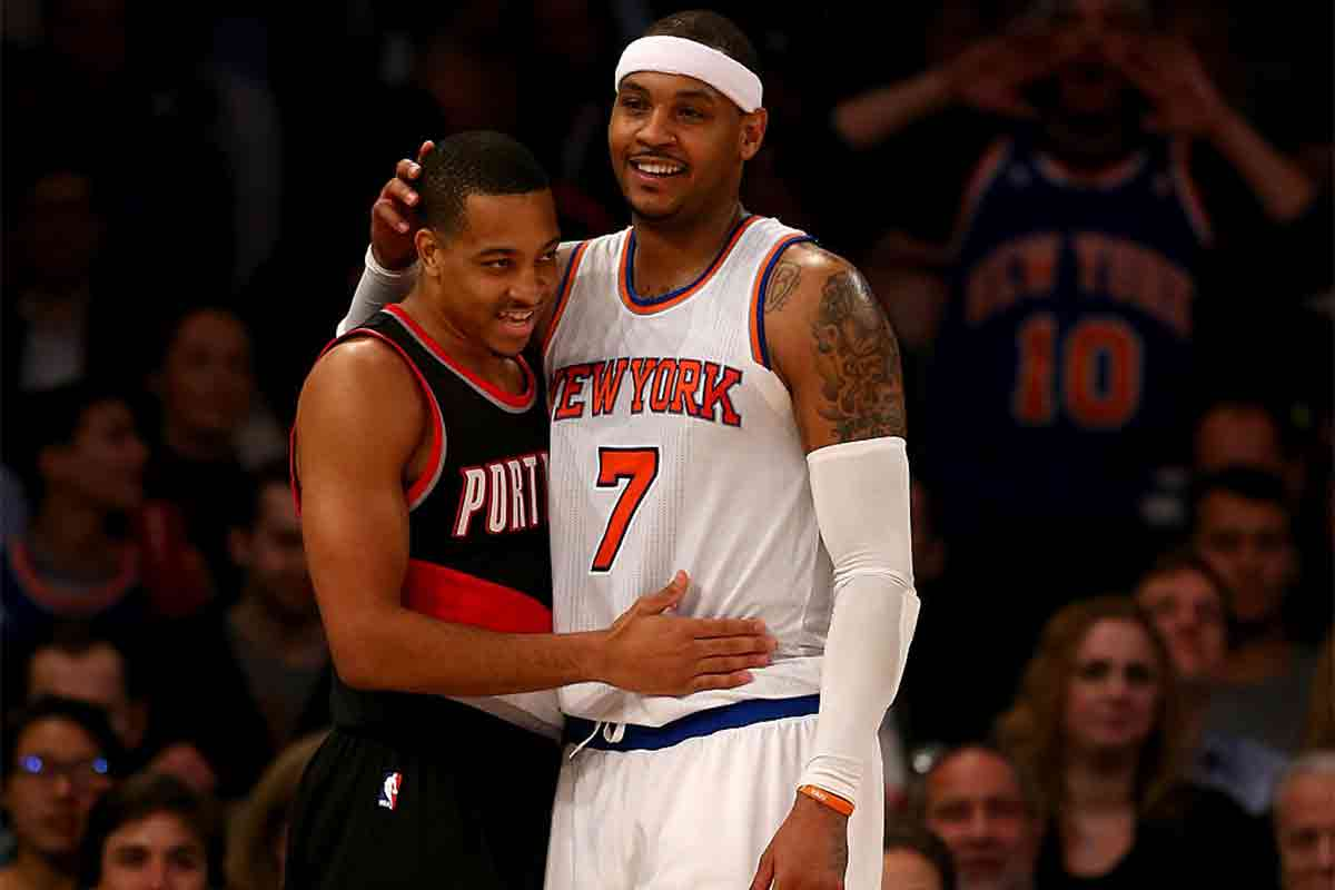Carmelo Anthony, jugador de New York Knicks; CJ McCollum, jugador de Portland Trail Blazers