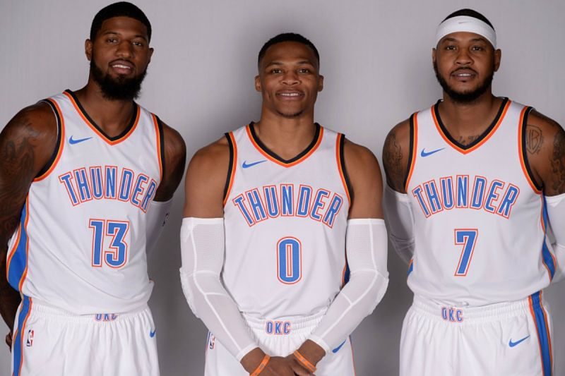 Russell Westbrook, Carmelo Anthony y Paul George